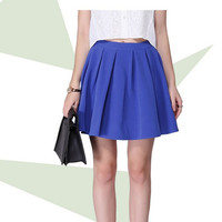 Casual High-Waisted Zipper Back Pleated Mini Skirt