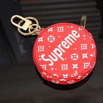 Supreme * LV Leather Zipper Car Key Wallet Case