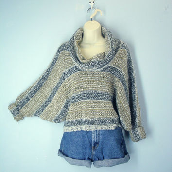 Vintage 80s Cropped Sweater, Dolman Sweater, Tweedy Nubby Sweater, Cowl Neck Sweater, Size L