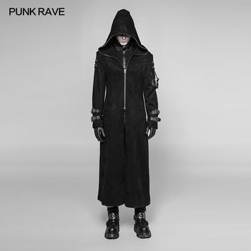 Trendy 2018 Punk Rave Rock Gothic Fashion Steampunk Visual Kei Pu Men's Long Coat Jacket Hoodie Cosplay WY933 AT_94_13