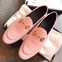 GUCCI New fashion solid color leather lazy shoes Pink
