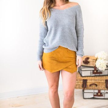 Now Or Never Faux Suede Skort- Mustard
