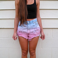 High waist / light pink and blue / studded & distressed