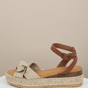 Open Toe Bow Accent Buckle Closure Sandals