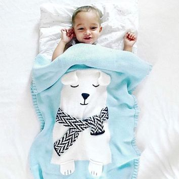 Baby Blanket Bear Fox Pattern Knitted Rug Bleach Mat