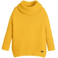 Girls Yellow Knitted Cotton Roll Neck Sweater