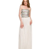 Ivory Crystal Embellished Chiffon Dress 2015 Homecoming Dresses