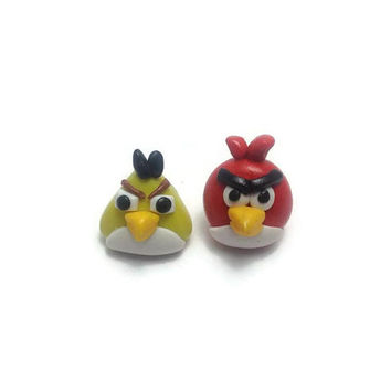 Angry Birds, Angry Bird Earrings, Angry Bird Jewelry, Post Earrings, Clip On Earrings, Mismatched Earrings, Polymer Clay Jewelry
