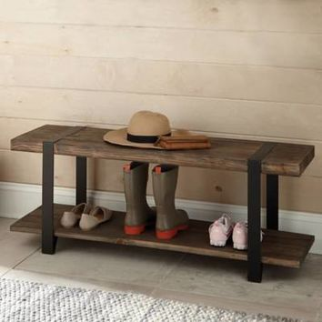 Modesto Metal and Reclaimed Wood Entryway Bench