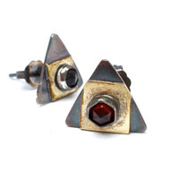 Philosopher's Stone Alchemy Garnet Post Earrings- Mixed Metal, Oxidized Sterling Silver and Yellow Brass With Gemstones