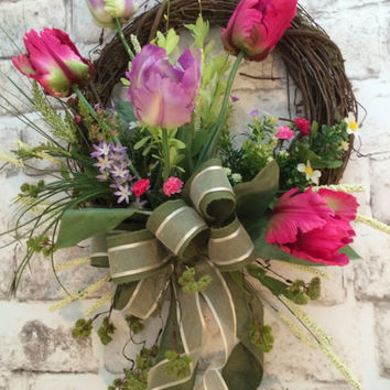 Tulip Spring Wreath, Easter Wreath, Front Door Wreath, Silk Floral Wreath, Mother's Day Gift, Valentine's Day Wreath, Etsy