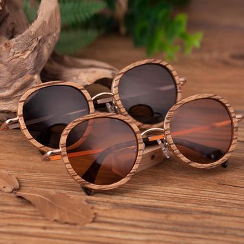 Ladies' Round Bamboo Wood Zebra Sunglasses
