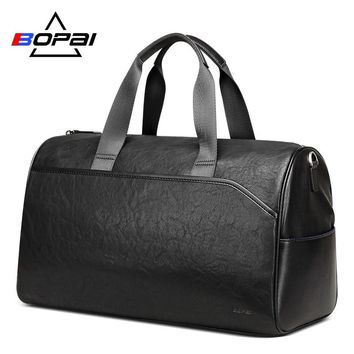 BOPAI Men Leather Travel Bags Hand Luggage Women Leather Duffle a33c661a88