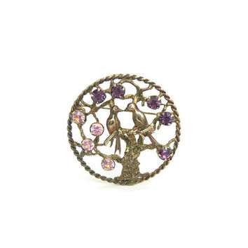 Love Birds in Tree of Life Brooch Amethyst Purple Pink Rhinestones Sterling Silver Gold Vermeil Romantic Swallows Vintage 1960s Fashion