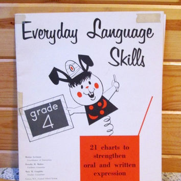 Everyday Language Skills Chart Teaching Aid for 4th Grade F A Owens Publishing/1960s