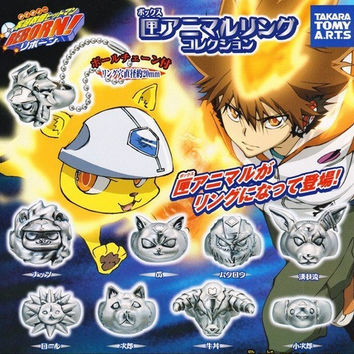 Takara Tomy Reborn Gashapon 8 Animal Mascot Style Metal Ring Strap Figure Set