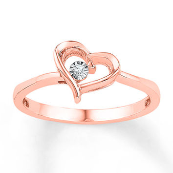 Heart Ring Diamond Accents 10K Rose Gold