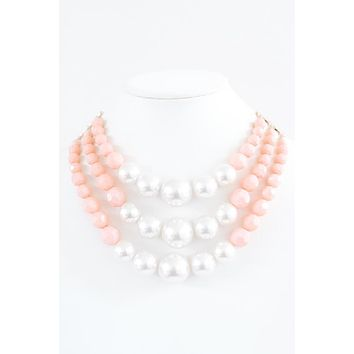Pearl & Bead 3 Strand Necklace