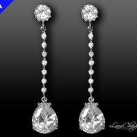 Wedding Bridal Cubic Zirconia Earrings 925 Sterling Silver Posts Silver Rhodium  Dangle Sparkle FREE US Shipping