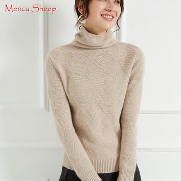 New Arrival Sweaters Women 100% Cashmere and Wool Jumpers Ladies Turtleneck Warm Pullovers Soft and Elegant Thick Knitwear Tops
