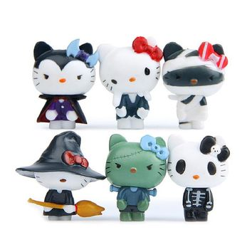 6pcs/lot Anime Cartoon Kawaii Cute Hello Kitty Halloween Figures Toys PVC Action Figure Model Toys Children Gifts Home Decor