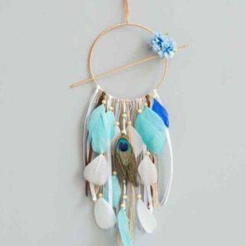 ac NOVQ2A Creative blue dream dream catcher ornaments Indian style feather home car hanging Amazon explosions