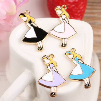 Mini Order 20PCS 19*33mm Cute Fairy Tale Alice Princess Enamel Pendant Charms Gold Tone Oil Drop DIY Bracelet Floating Charms