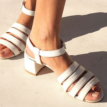 PALMA LOW HEEL SANDAL, WHITE CALF