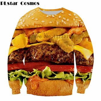 Latest design Yummy Burger Long sleeve Sweatshirts Fashion Men Women Cute high-quality Sweatshirt Hamburger print Outerwear