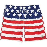 River Island MensRed stars and stripes mid length swim trunks