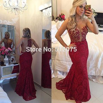 Burgundy/Green/Gold Sexy Sheer O-Neck Off Shoulder Pearls Burgundy Prom Dresses 2016 Open Back Lace Mermaid Women Dresses x09151