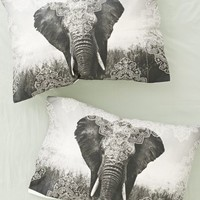 Plum & Bow Indira Elephant Pillowcase Set - Black & White One