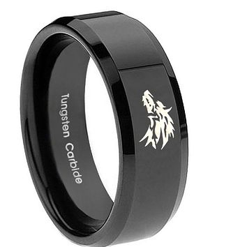 8mm Wolf Beveled Edges Black Tungsten Carbide Mens Promise Ring