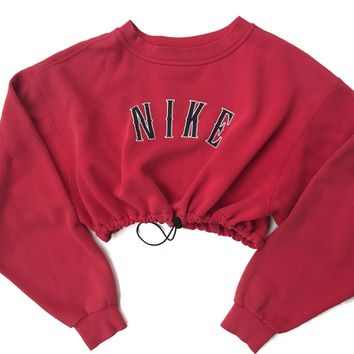 Reworked Nike Crop Sweatshirt Red