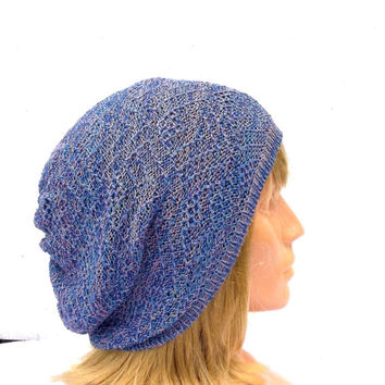 knit hat, knitted cotton beanie, knitting blue cap, knit small slouche, summer hat, spring hat, women beanie, men cap, handmade sun hat