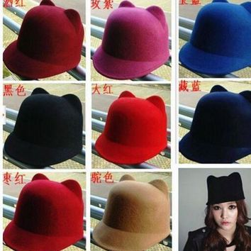 DCCKWJ7 1pcs/lot Spring Women's Fashion Cat ears caps devil hat caps solid small fedoras Cashmere hat wool hat animal hats