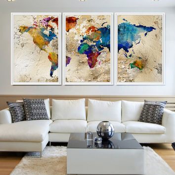 World Map Watercolor, Watercolor World Map, Large World Map Art, World Map Poster, Extra Large Art, Abstract World Map, Wall art poster (L13