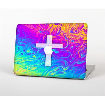 The Vector White Cross v2 over Neon Color Fushion V2 Skin Set for the Apple MacBook Pro 15""