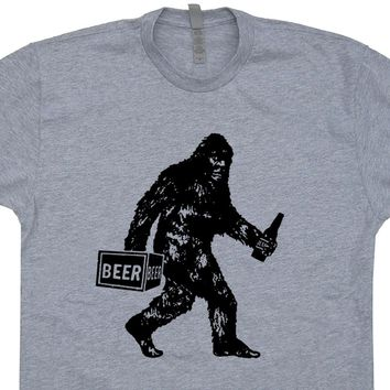 Bigfoot T Shirt Bigfoot Drinking Beer Shirt Funny Sasquatch Shirt