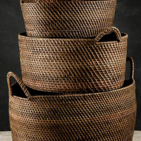 "Set of Three   (21"",18"" & 16"" ) Rattan   Indonesian Baskets  with Handles"