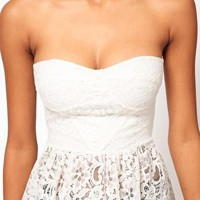 ASOS Corset Top in Lace with Peplum at asos.com