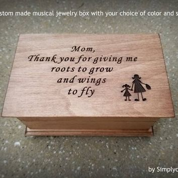 wedding gift box, musical jewelry box, mother of the bride gift, music box, jewelry box, anniversary gift, jewelry box, wooden music box