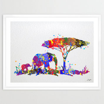 Baby Elephant and Mom Elephant Watercolor Art Print,Wall Art Poster,Home Decor,Wall Hanging,Birthday Gift,Motivational/Inspirational, #150