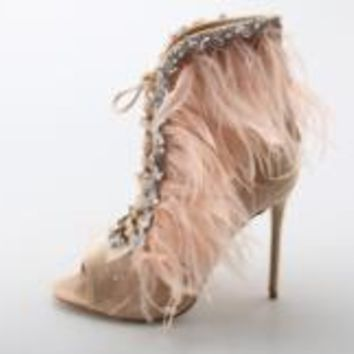 2018 Sexy Feathers High Heels  LuxuryCrystal  Boots