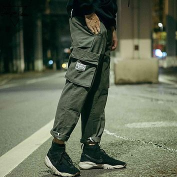 Straight Men Casual Pants Large Pocket Solid Color Cargo Pants Male Military Trousers Fashion Simple Pants