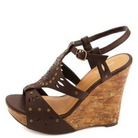 Studded Laser-Cut Platform Wedge Sandals by Charlotte Russe - Brown