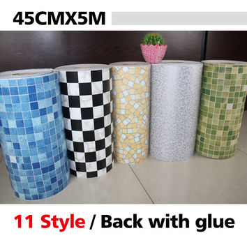 5 Meters Vinyl PVC mosaic tile Self adhesive wallpaper for bathroom WC kitchen Anti Oil Waterproof wall stickers home decor roll
