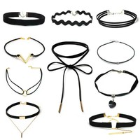 ZOEBER 10 PCS/Set New Gothic Tattoo Leather Choker Necklaces Set for Women Hollow Out Black Lace Necklace Jewelry Collier Chain