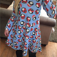 Penguin Print Long Sleeve Dress