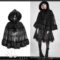 lolita goth princess diary black riding hood parka fur trim poncho cape LY057